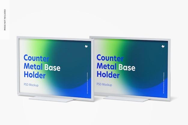 Counter top metal base holders mockup,