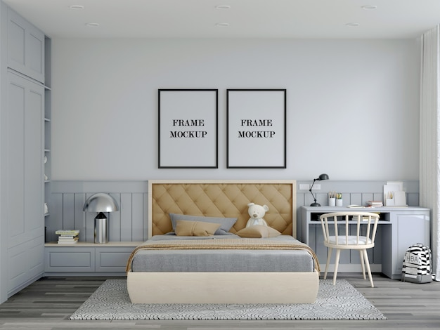 Country bedroom double wall frame mockup