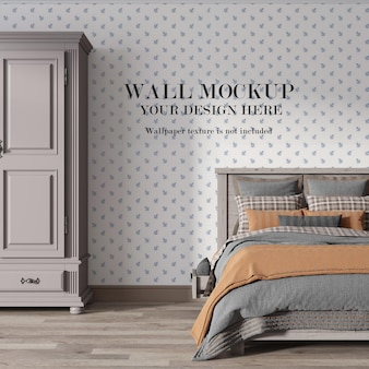 Country bedroom empty wall mockup with minimalist furniture