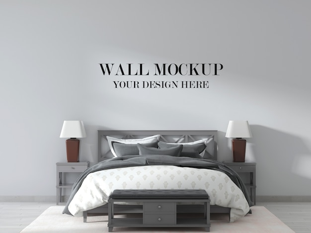 Country design bedroom wall mockup with grey color furniture