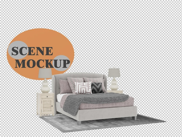 Country style bedroom furniture in 3d scene