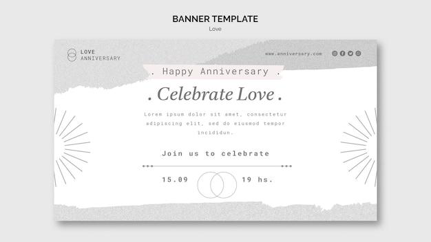 Modello di banner per l'anniversario di coppia