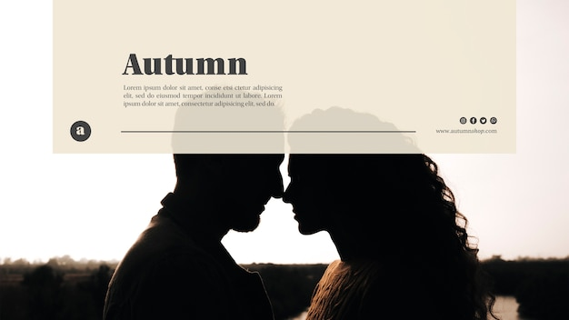 Couple on autumn web template