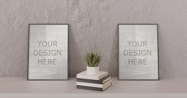 Couple black frame mockup standing on white table with books and succulent. horizontal frame
