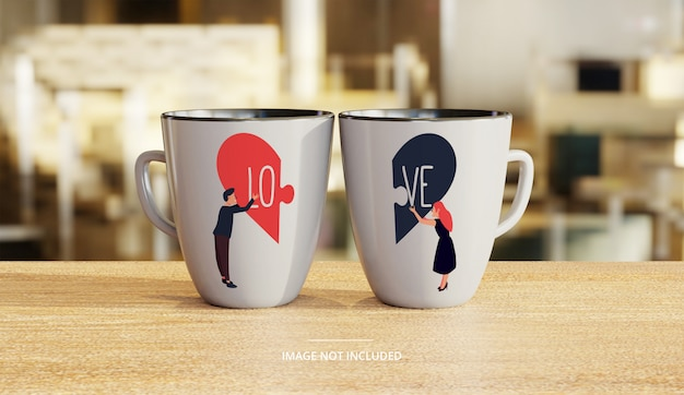 Couple ceramic white coffee mug mockup with lounge background