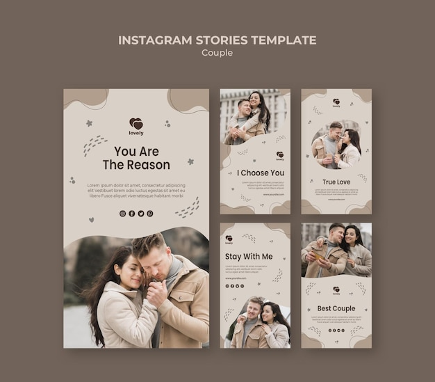 Шаблон рассказа instagram концепции пара