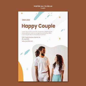 Modello di poster di concetto di coppia