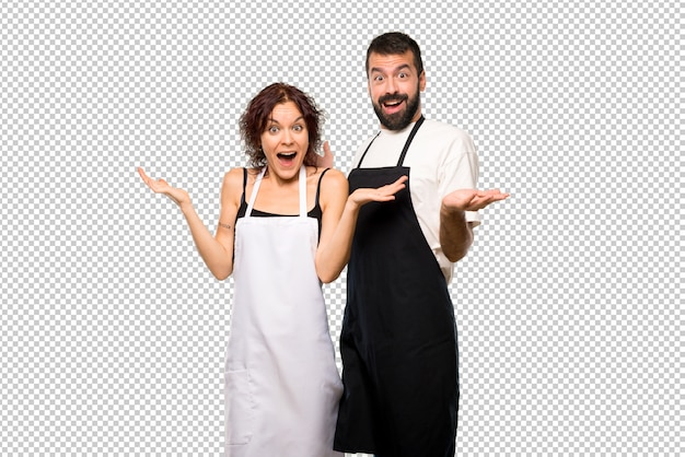 Couple of cooks with surprise expression because not expect what has happened