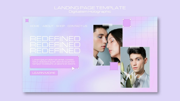 Couple digitalism holographic landing page