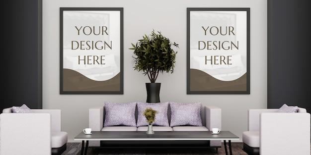 Couple frame mockup on living room behind sofa