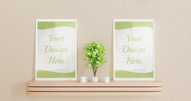 Couple frame mockup standing on the wooden wall desk with decorative plants