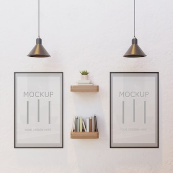 Couple frame mockup on white wall under lamp with book wall shelf