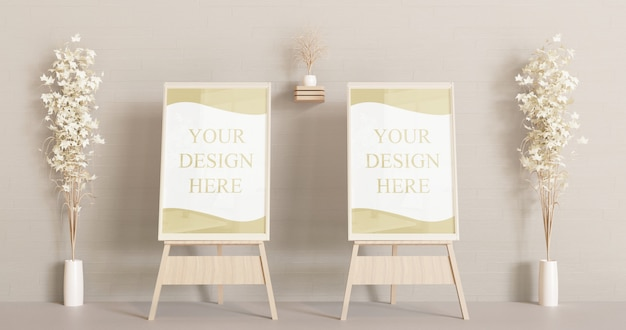 Couple frame mockup on the wooden easel