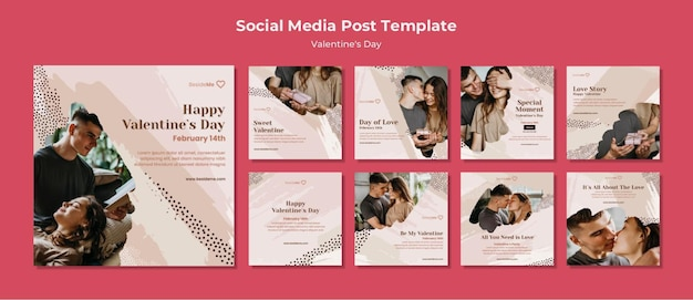 Couple happy valentine's day instagram post template