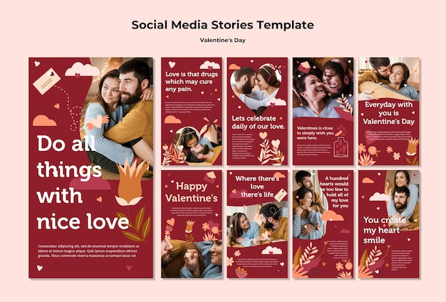 Modello di storie di instagram di coppia felice san valentino