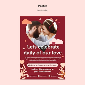 Couple happy valentine's day poster template