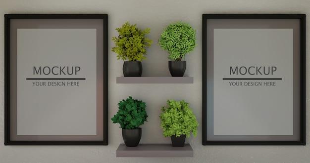 Couple horizontal frame mockup between plants on wall shelf.