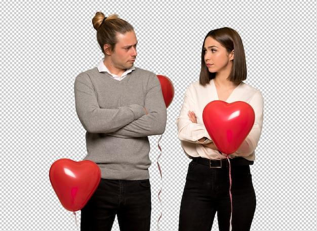 動揺を感じてバレンタインの日のカップル