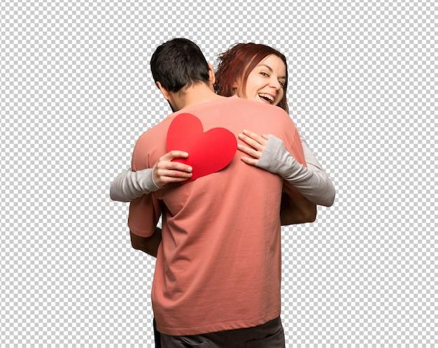 ハグとバラとバレンタインの日のカップル