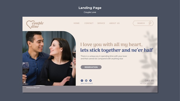 Couple love landing page template