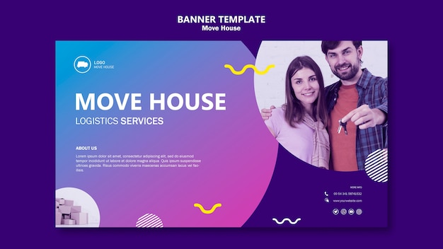 Couple moving in a new home banner template