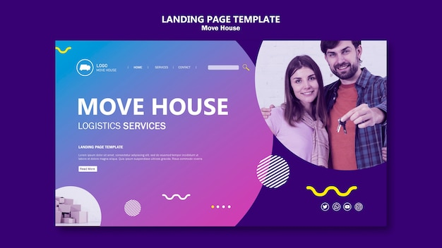 Couple moving in a new home landing page