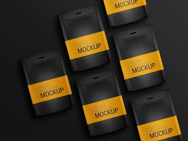 파우치 포장 모형의 커플 무료 PSD 파일