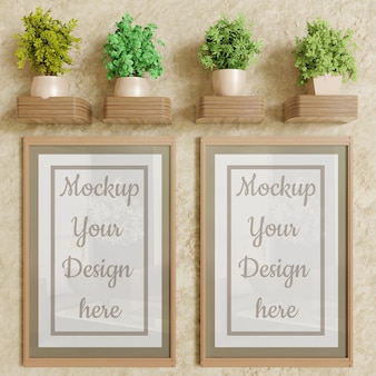 Couple poster frame mockup on wall with plants decoration