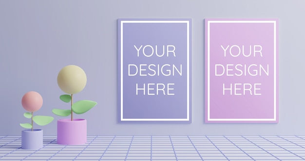 Couple poster mockup in 3d render style pastel color