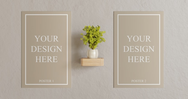 Couple poster mockup on wall with plant decoration