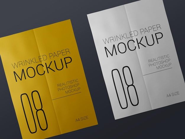 Couple of realistic wrinkled poster template mockup. glued paper wet wrinkled posters mockup