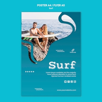 Couple at seaside with surfboards flyer