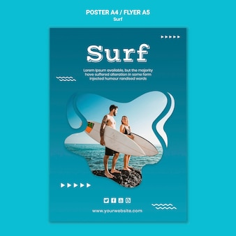Couple at seaside with surfboards  poster