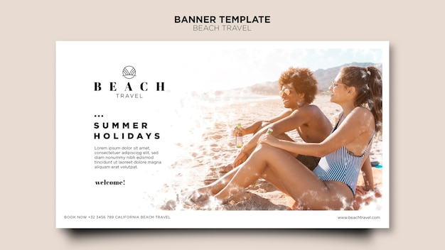 Couple sitting on the beach banner template