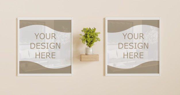 Couple square white frame mockup on wall with plant decoration