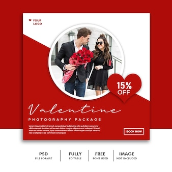 Couple valentine banner social media post instagram girl man red