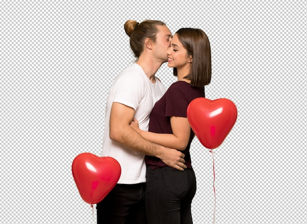 Couple in valentine day kissing