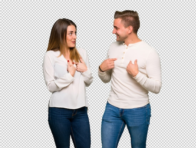 Couple in valentine day with surprise facial expression