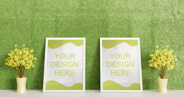 Couple white frame mockup standing on white floor with couple decorative plant. horizontal frame