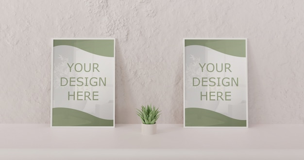 Couple white frame mockup standing on white table with succulent. horizontal frame