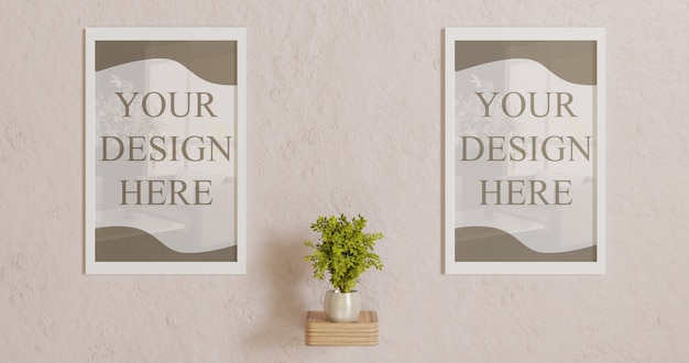 Couple white frame mockup on wall with plant decoration