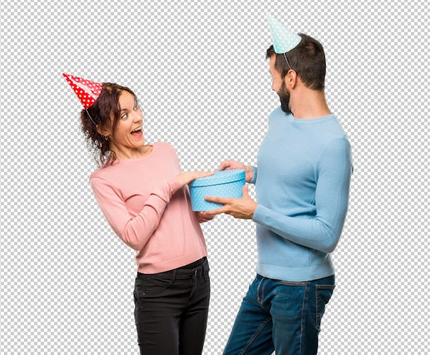 Пара с шариками и подарками