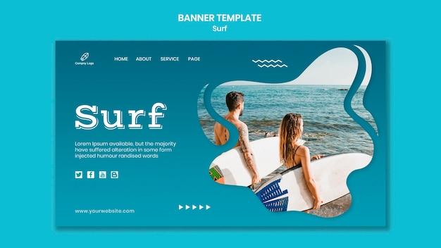 Couple with surfboards at seaside banner