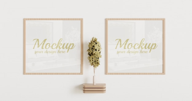 Couple wooden square frame mockup on the wall