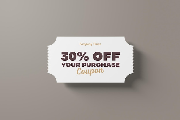 Coupon and ticket psd mockup