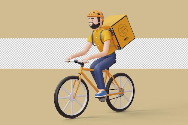 Courier bicycle delivery man with parcel box on the back in 3d rendering