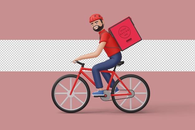 3dレンダリングで背面に小包ボックスを持つ宅配自転車配達人