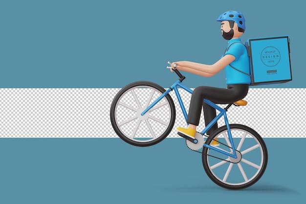 3d 렌더링에서 뒷면에 소포 상자와 택배 자전거 배달 남자