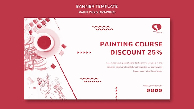 Courses for drawing and painting banner template