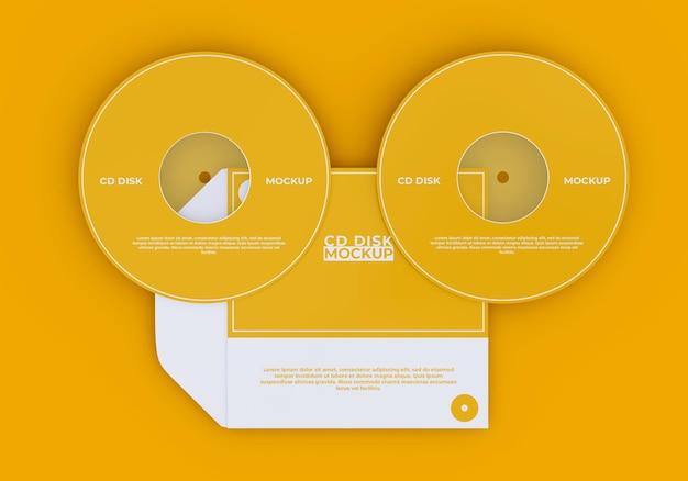 シンプルなカバーとコンパクトディスクのモックアップ